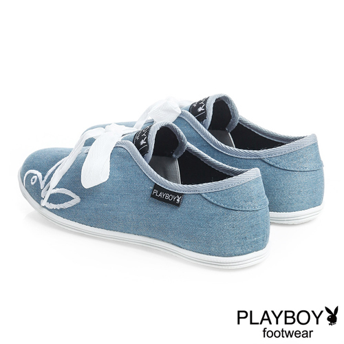 PLAYBOY 自由靈魂 亮粉丹寧綁帶休閒鞋-藍