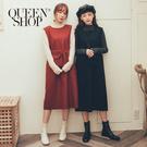 Queen Shop【01084805】素面毛呢背心洋裝 附腰包 兩色售*現+預*