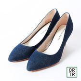 【ORiental TRaffic】純色烤漆跟尖頭包鞋-單寧