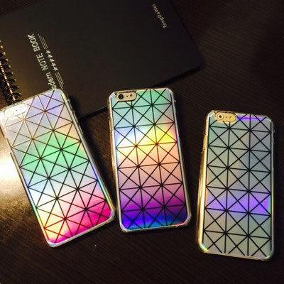 King*Shop~鐳射三宅一生iphone6 plus漸變手機殼 菱格紋蘋果6保護套5s透明硬殼