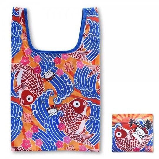 小禮堂 Hello Kitty 和風折疊尼龍環保購物袋 環保袋 側背袋 手提袋 (藍紅 魚旗) 4991567-26769