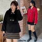 (現貨+預購 FUWAFUWA)-加大尺碼短款羊毛毛呢外套