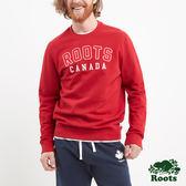 Roots -男裝- ROOTS 字標圓領上衣 - 紅色