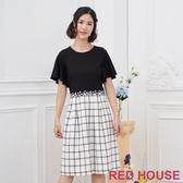 【RED HOUSE 蕾赫斯】花朵格紋洋裝(黑色)