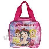 〔小禮堂〕迪士尼公主方形尼龍手提便當袋《粉大臉》手提袋野餐袋外出袋4713549 00050