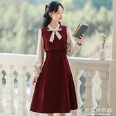 春秋季紅色洋裝女裝春裝2021年新款早春款新年長袖裙子茶歇長裙 快意購物網