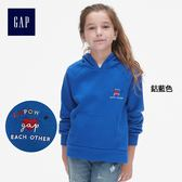 Gap女童 時尚舒適插肩長袖連帽休閒上衣 398422-鈷藍色