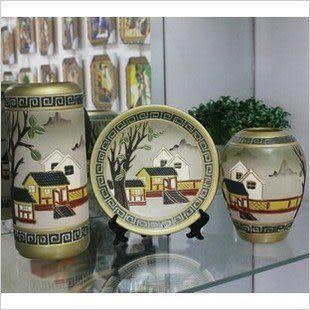 臺面陶瓷三件套擺件