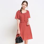 中大尺碼~拼接圓點印花短袖洋裝(L~5XL)