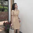 女短袖洋裝長裙春裝2020年新款韓版短袖小香風連衣裙女氣質高腰雙排扣西裝裙短裙