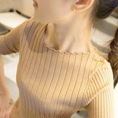 【全館】82折短袖打底衫女短款套頭一字領上衣薄毛衣冰絲針織衫春中秋佳節