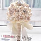 新娘手捧花韓式珍珠布藝緞帶創意玫瑰花結婚婚慶禮物手工創意仿真