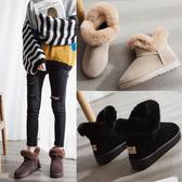 雪靴女2019新款時尚加厚加絨皮毛一體短筒厚底靴子一腳蹬棉鞋冬