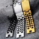 《 QBOX 》FASHION 飾品【B100N620】精緻個性寬版素面及經文十字架鈦鋼手鍊/手環