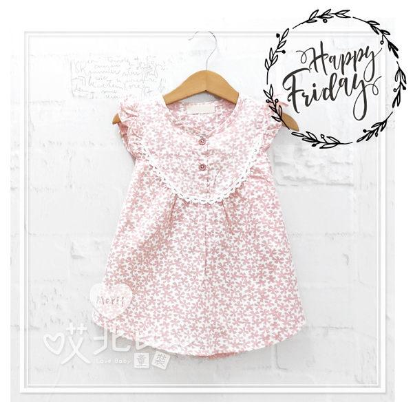 甜美荷葉邊無袖仿麂皮蕾絲上衣 小洋裝 BABY 新生兒 童裝 碎花 小花 圓領