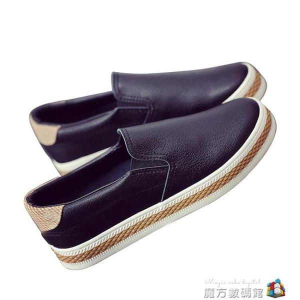 春季黑白色套腳樂福鞋韓版潮皮面一腳蹬懶人鞋女平底休閒板鞋 魔方數碼館