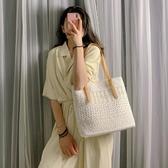 單肩包包女2020夏季新款韓版托特女包大容量手提包百搭蕾絲帆布包