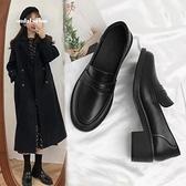 2021春季新款小皮鞋女英倫中跟粗跟黑色樂福鞋百搭單鞋春秋女鞋子 青木鋪子