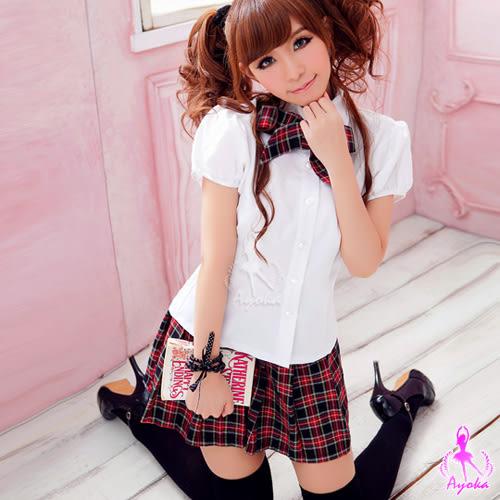 情趣用品 女性商品 英格蘭格紋三件式學生制服(短袖襯衫+百褶短裙+蝴蝶領結) 角色扮演服