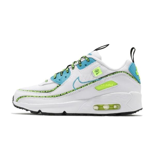 Nike 休閒鞋 Air Max 90 SE2 GS Worldwide 白 藍 氣墊 女鞋 大童鞋 【ACS】 CV7665-100