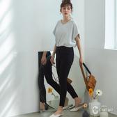 CANTWO韓版彈力剪裁激瘦褲-黑色