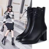 靴子.率性皮革拉鍊馬丁短靴.白鳥麗子