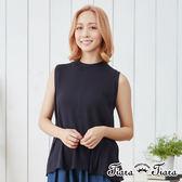 【Tiara Tiara】純棉無袖中長版背開衩織紋上衣(深藍/淺灰)