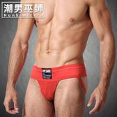型男時尚 3英吋寬版腰帶 男性運動型體育後空內褲 紅色| SAFETGARD jockstrap