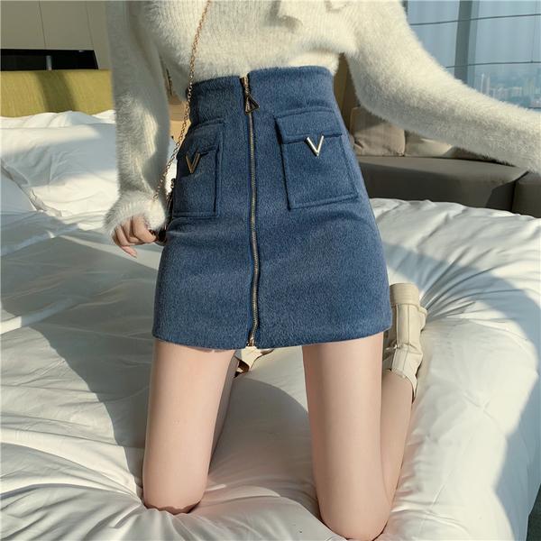 VK精品服飾 韓國風百搭毛呢冬裙單品短裙