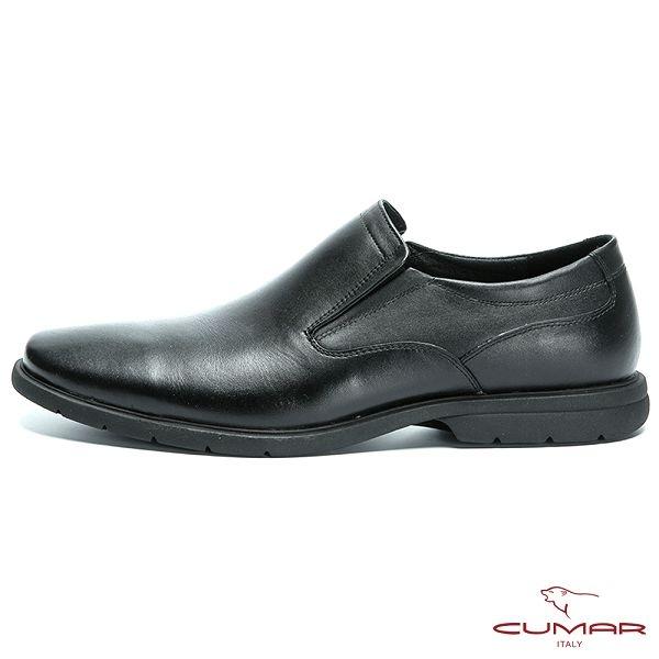 CUMAR 超輕舒適大底 真皮素面休閒皮鞋-黑色