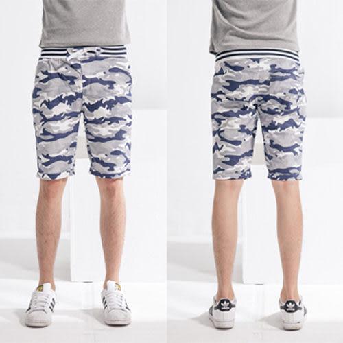 藍色迷彩風螺紋彈力短褲.海灘褲