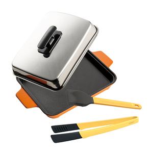 【MULTEE 摩堤】A5烤盤超值組(A5烤盤+料理夾+醬料刷)A5平烤盤_橘
