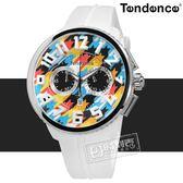 Tendence 天勢表 / TY046013 / 立體刻度 三眼計時 日期 礦石強化玻璃 防水100米 矽膠手錶 彩色x白 51mm