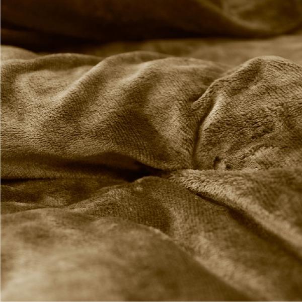 法蘭絨床包被套四件組-雙人加大 6X6.2尺【亞麻棕】經典素色、加倍保暖、可機洗、親膚柔順