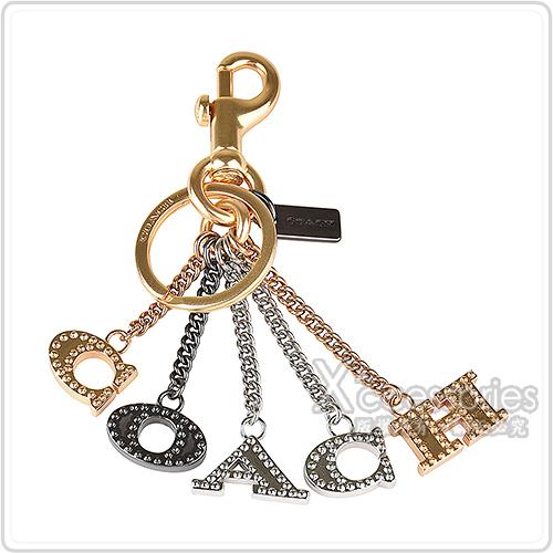 展示品COACH PERFORATED吊牌LOGO字母設計雙釦環鑰匙圈(多色)