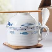 日式泡面碗帶蓋陶瓷可愛碗瓷碗家用泡面碗杯