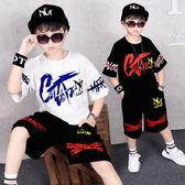嘻哈童裝男童夏裝套裝 2019新款兒童短袖夏季中大童男孩帥氣兩件套潮衣