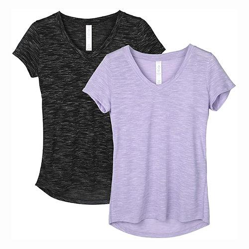 女時尚V領運動T恤2件組(黑色/淡紫色)