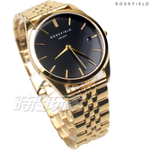 ROSEFIELD 歐風美學 時尚簡約 圓形 不鏽鋼 女錶 防水手錶 日期顯示窗 金x黑 ACBKG-A13