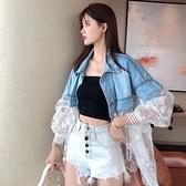 蕾絲拼接牛仔外套開衫S-L夏季時尚刺繡假兩件收腰顯瘦牛仔外套薄款上衣女F139快時尚