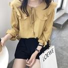 長袖襯衫 荷葉邊系帶長袖襯衣設計感小清新...