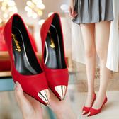 大尺碼女鞋尖頭細跟單鞋夏淑女淺口婚鞋小紅鞋低跟黑色皮鞋