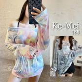 克妹Ke-Mei【AT70156】採購精選任二件188性感透視彩虹札染寬鬆罩杉上衣