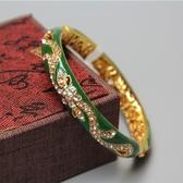 復古景泰藍手鐲女款個性鍍金手環鐲子出國送老外創意北京禮品
