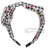 〔小禮堂〕Hello Kitty 兒童鐵絲蝴蝶結緞帶髮箍《黑白.櫻桃》頭飾.髮飾 4901610-98083