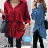 【V2826】shiny藍格子-美薰芳恬‧收腰綁帶中長款不規則襯衫上衣