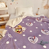冬季加厚毛毯子魔法絨小草莓羊羔絨雙層沙發蓋毯【邻家小鎮】
