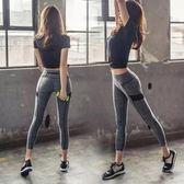 中大尺碼 速干短袖緊身褲女瑜伽長褲顯瘦跑步健身套裝nm511【每日三C】