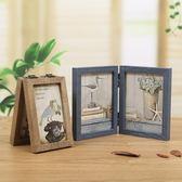 創意三折木質相框相片框擺台復古6寸7寸雙面折疊影樓相架文藝像框