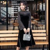 長袖洋裝新款秋冬性感透視絲絨修身中長款連身裙黑色小禮服9929GT4F-461快時尚